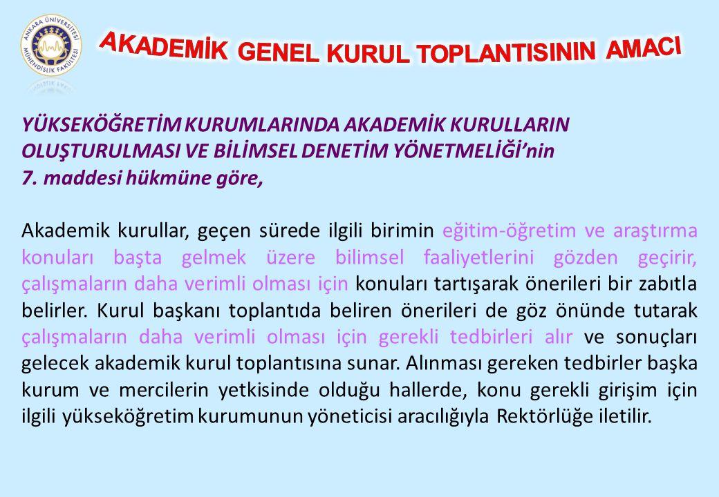 AKADEMİK GENEL KURUL TOPLANTISININ AMACI