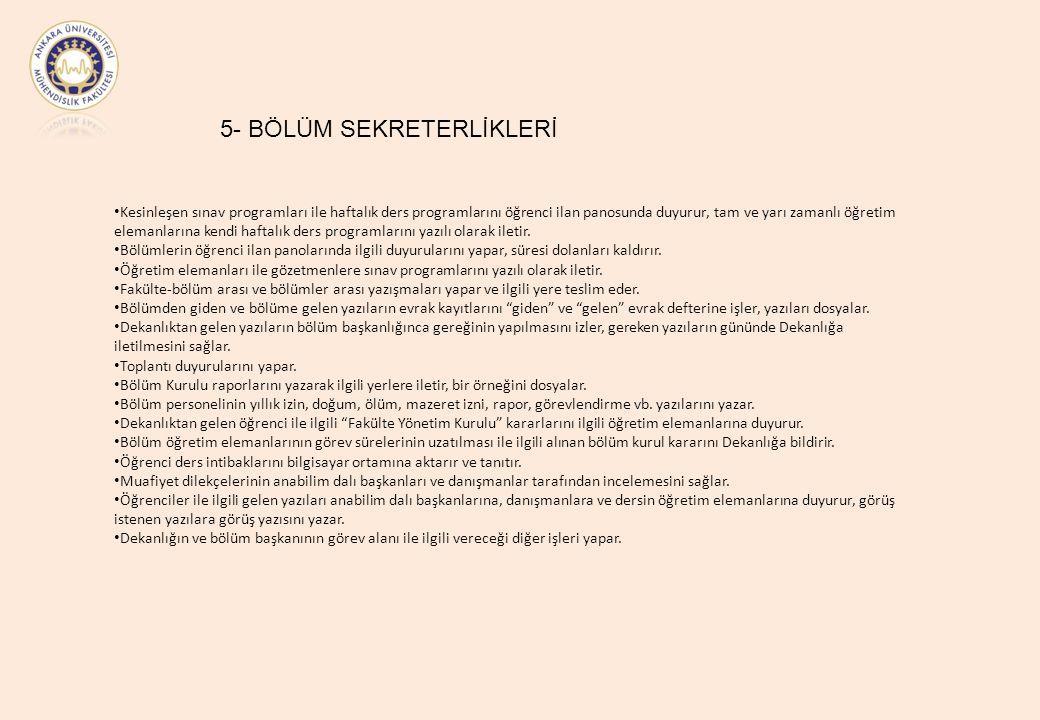 5- BÖLÜM SEKRETERLİKLERİ