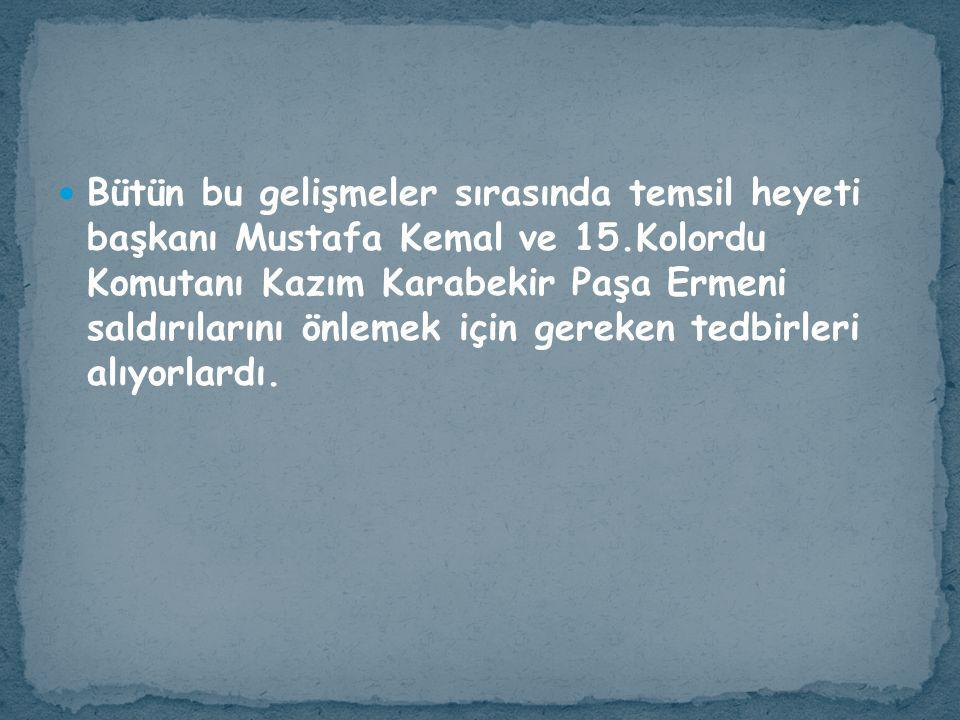 Bütün bu gelişmeler sırasında temsil heyeti başkanı Mustafa Kemal ve 15.Kolordu Komutanı Kazım Karabekir Paşa Ermeni saldırılarını önlemek için gereken tedbirleri alıyorlardı.