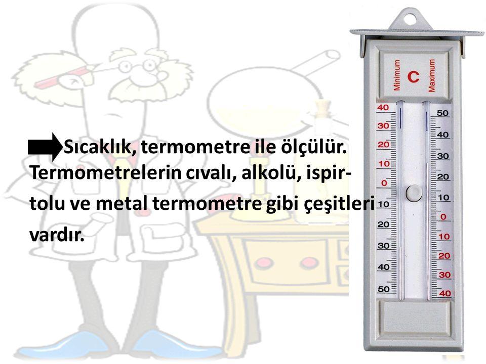 Sıcaklık, termometre ile ölçülür