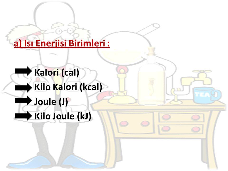 a) Isı Enerjisi Birimleri :