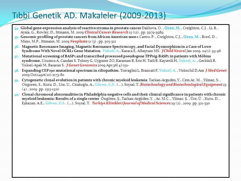 Tıbbi Genetik AD. Makaleler (2009-2013)