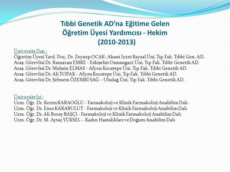 Tıbbi Genetik AD'na Eğitime Gelen Öğretim Üyesi Yardımcısı - Hekim (2010-2013)