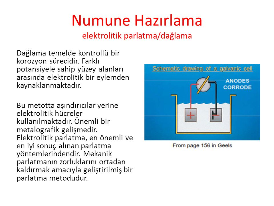 Numune Hazırlama elektrolitik parlatma/dağlama