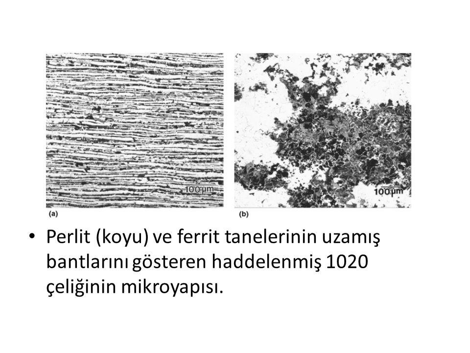 Perlit (koyu) ve ferrit tanelerinin uzamış bantlarını gösteren haddelenmiş 1020 çeliğinin mikroyapısı.