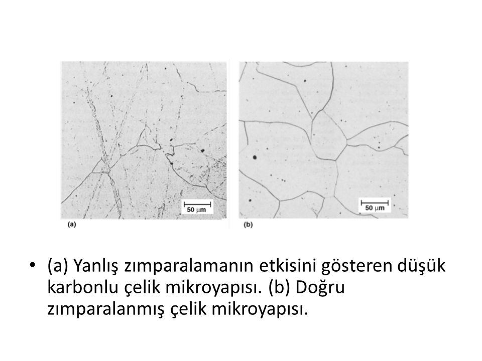 (a) Yanlış zımparalamanın etkisini gösteren düşük karbonlu çelik mikroyapısı.