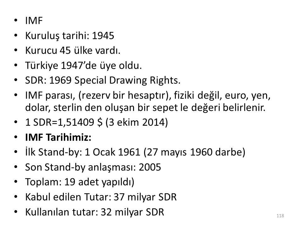 IMF Kuruluş tarihi: 1945. Kurucu 45 ülke vardı. Türkiye 1947'de üye oldu. SDR: 1969 Special Drawing Rights.