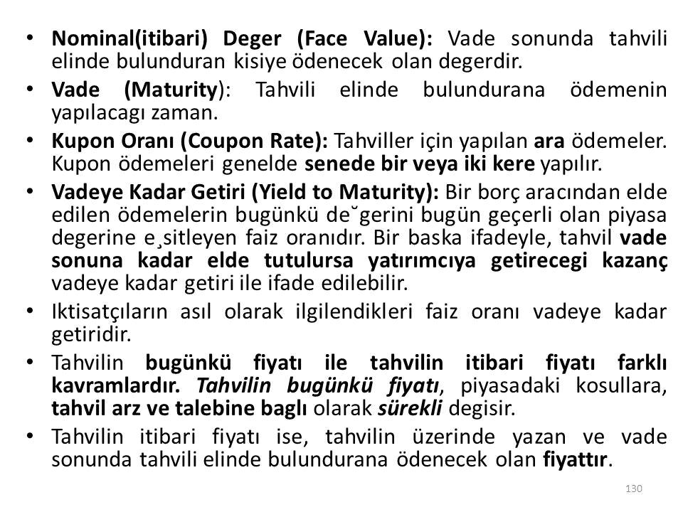 Nominal(itibari) Deger (Face Value): Vade sonunda tahvili elinde bulunduran kisiye ödenecek olan degerdir.