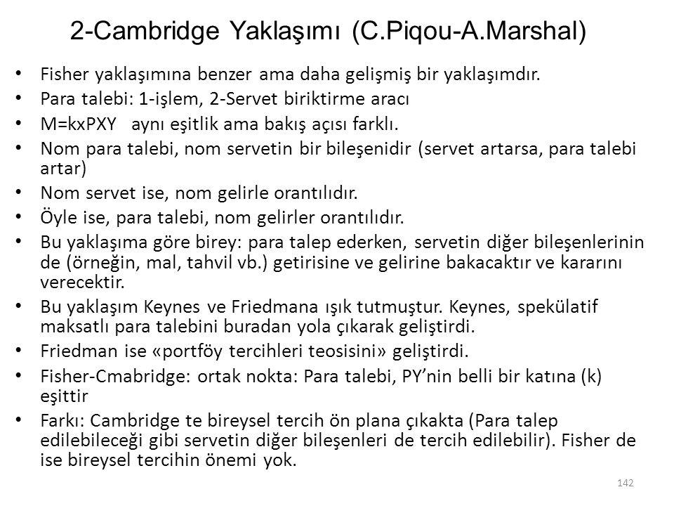 2-Cambridge Yaklaşımı (C.Piqou-A.Marshal)