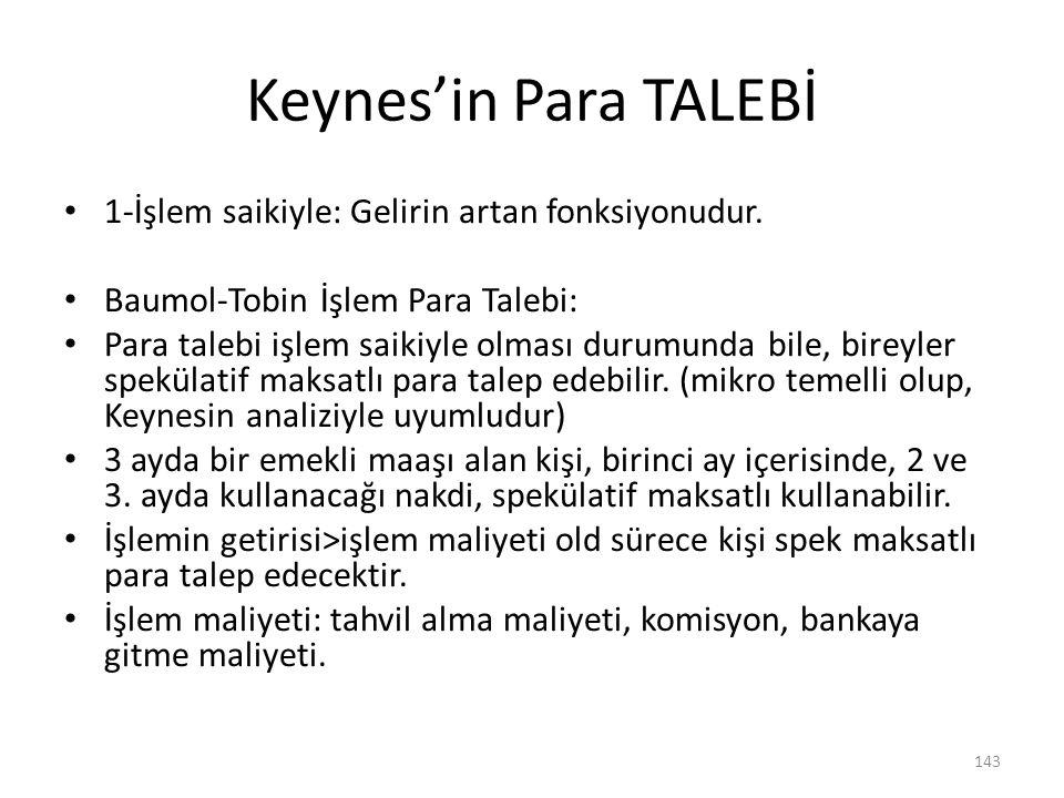 Keynes'in Para TALEBİ 1-İşlem saikiyle: Gelirin artan fonksiyonudur.