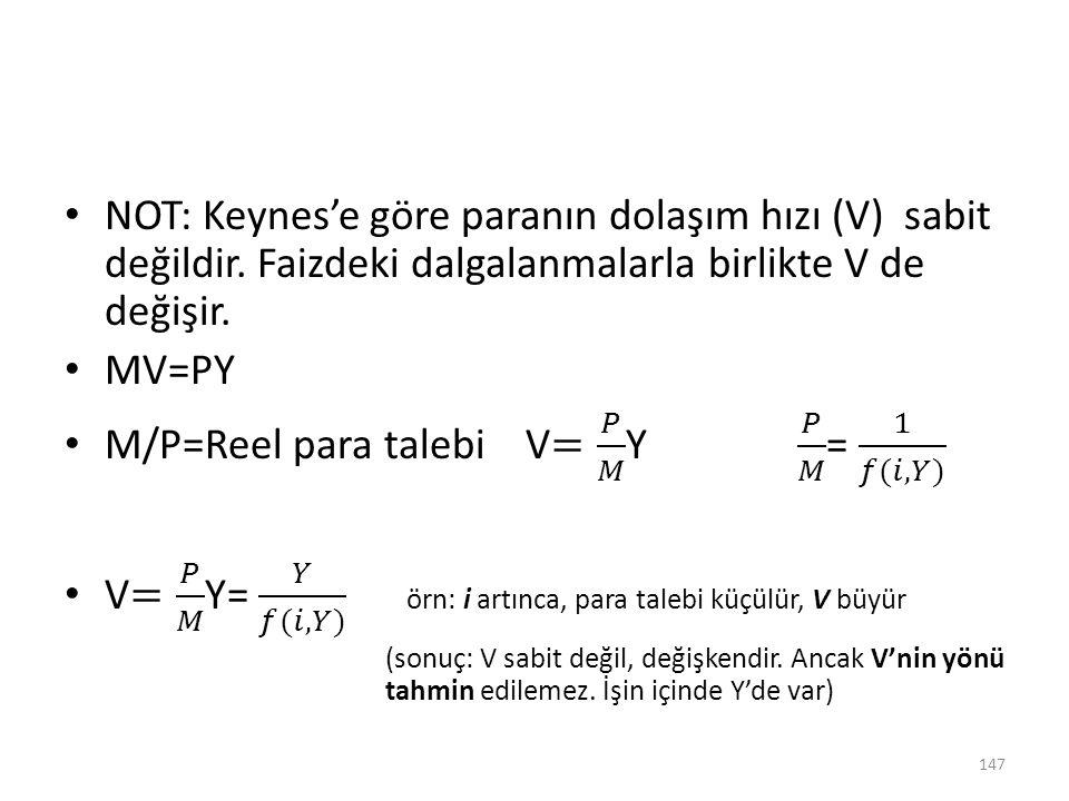 M/P=Reel para talebi V= 𝑃 𝑀 Y 𝑃 𝑀 = 1 𝑓(𝑖,𝑌)