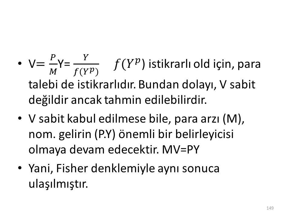 V= 𝑃 𝑀 Y= 𝑌 𝑓( 𝑌 𝑝 ) 𝑓( 𝑌 𝑝 ) istikrarlı old için, para talebi de istikrarlıdır. Bundan dolayı, V sabit değildir ancak tahmin edilebilirdir.