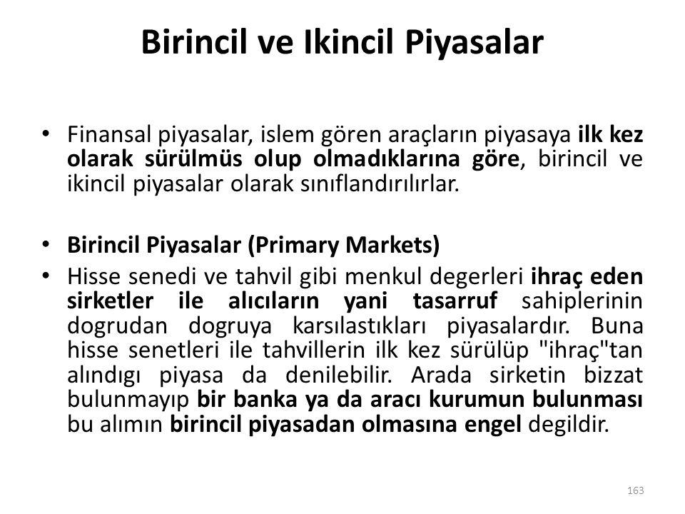 Birincil ve Ikincil Piyasalar