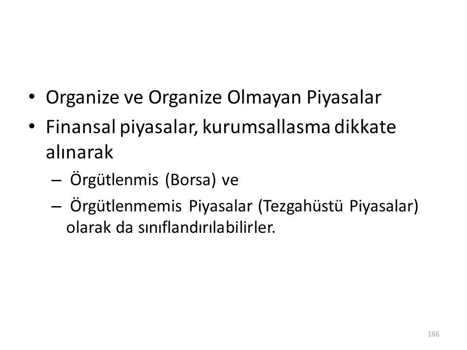 Organize ve Organize Olmayan Piyasalar