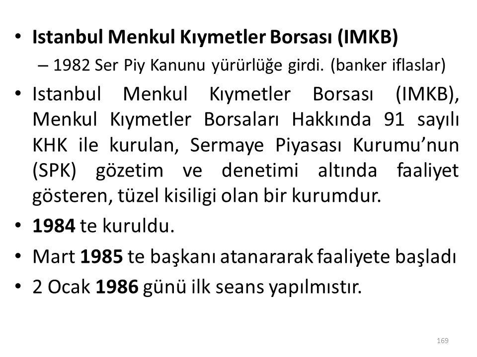 Istanbul Menkul Kıymetler Borsası (IMKB)