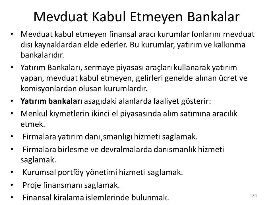 Mevduat Kabul Etmeyen Bankalar