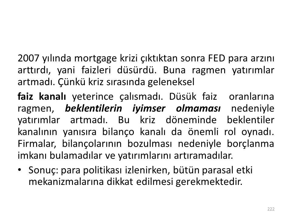 2007 yılında mortgage krizi çıktıktan sonra FED para arzını arttırdı, yani faizleri düsürdü. Buna ragmen yatırımlar artmadı. Çünkü kriz sırasında geleneksel
