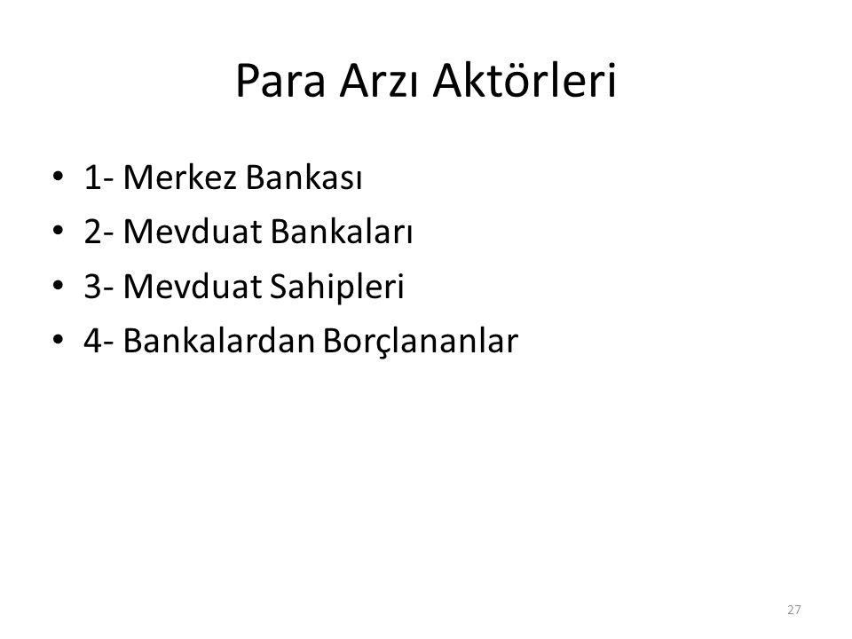Para Arzı Aktörleri 1- Merkez Bankası 2- Mevduat Bankaları
