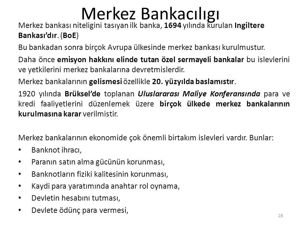 Merkez Bankacılıgı Merkez bankası niteligini tasıyan ilk banka, 1694 yılında kurulan Ingiltere Bankası'dır. (BoE)