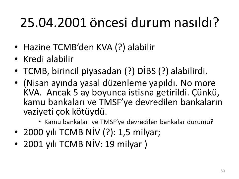 25.04.2001 öncesi durum nasıldı Hazine TCMB'den KVA ( ) alabilir