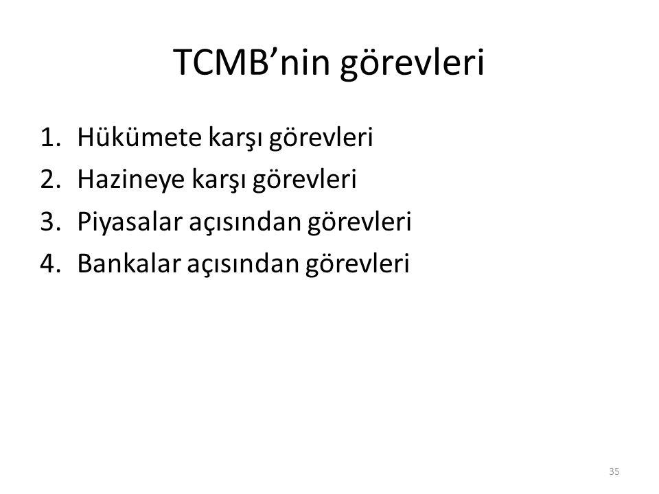 TCMB'nin görevleri Hükümete karşı görevleri Hazineye karşı görevleri