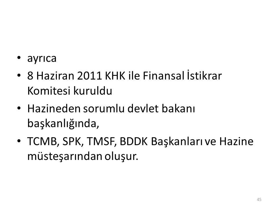 ayrıca 8 Haziran 2011 KHK ile Finansal İstikrar Komitesi kuruldu. Hazineden sorumlu devlet bakanı başkanlığında,