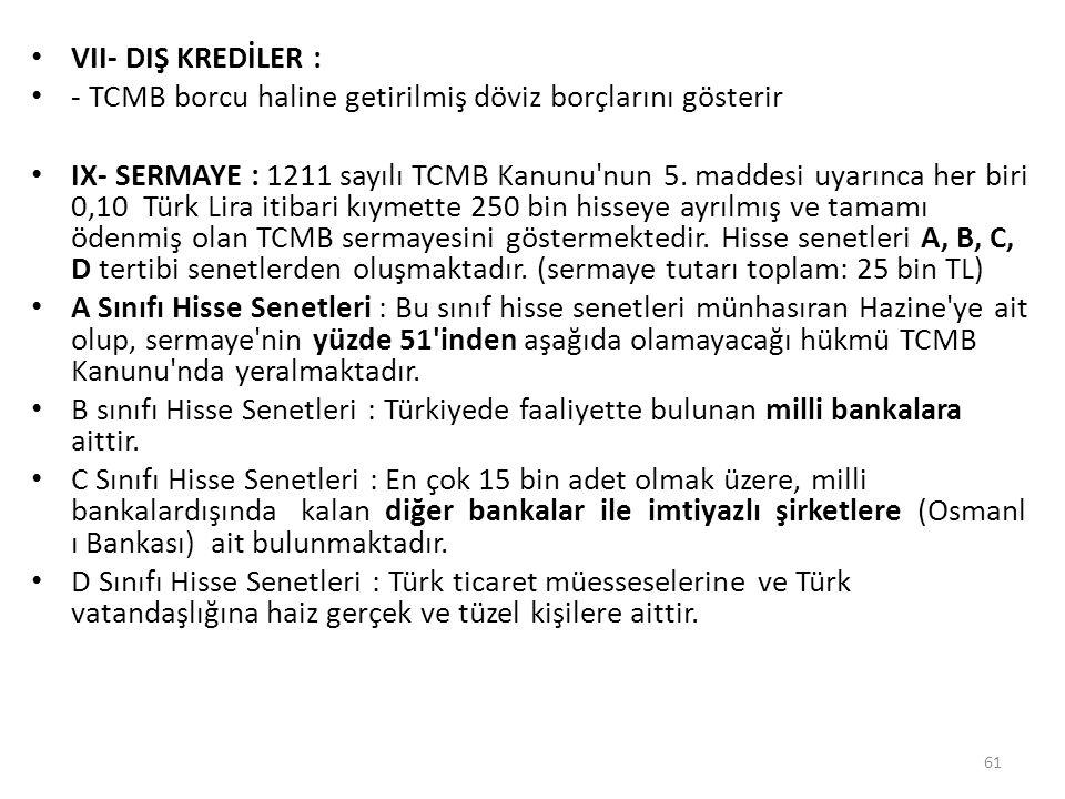 VII- DIŞ KREDİLER : - TCMB borcu haline getirilmiş döviz borçlarını gösterir.