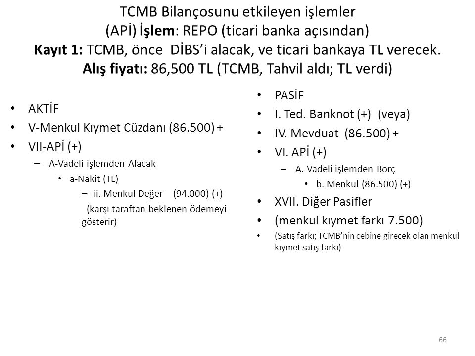 TCMB Bilançosunu etkileyen işlemler (APİ) İşlem: REPO (ticari banka açısından) Kayıt 1: TCMB, önce DİBS'i alacak, ve ticari bankaya TL verecek. Alış fiyatı: 86,500 TL (TCMB, Tahvil aldı; TL verdi)