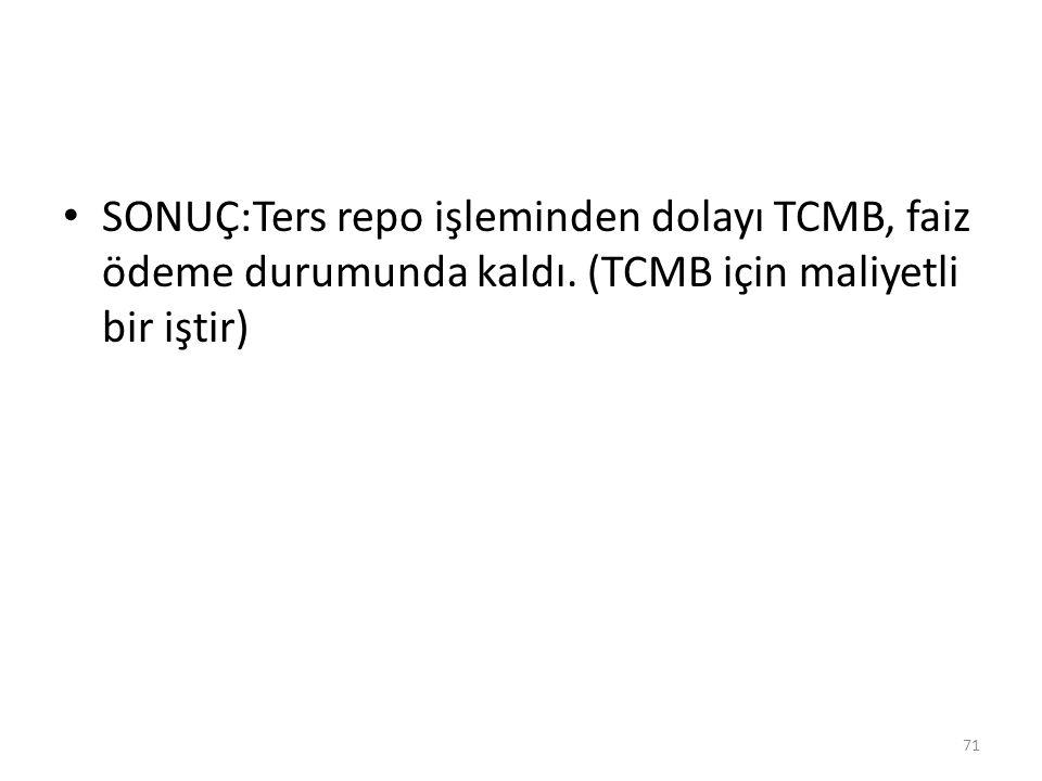 SONUÇ:Ters repo işleminden dolayı TCMB, faiz ödeme durumunda kaldı