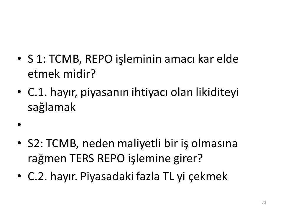 S 1: TCMB, REPO işleminin amacı kar elde etmek midir