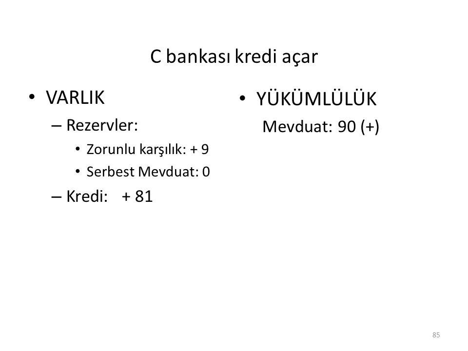 C bankası kredi açar VARLIK YÜKÜMLÜLÜK Rezervler: Mevduat: 90 (+)