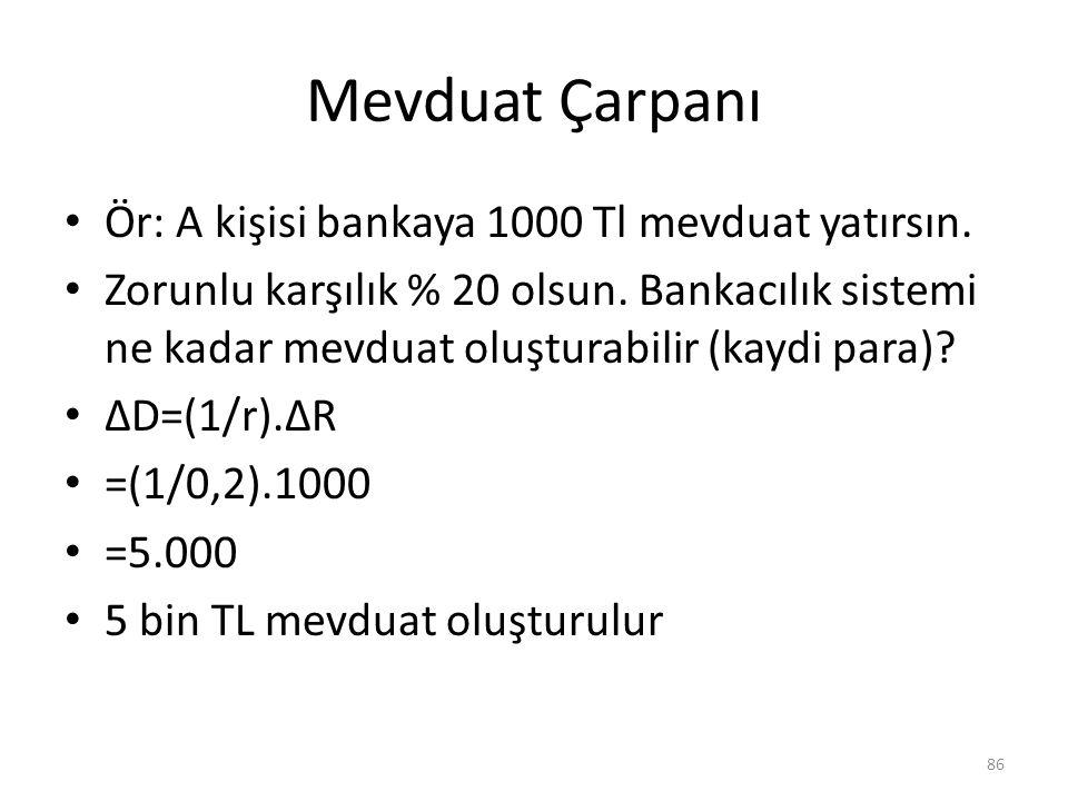 Mevduat Çarpanı Ör: A kişisi bankaya 1000 Tl mevduat yatırsın.