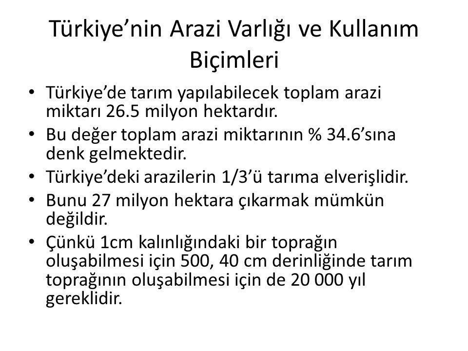 Türkiye'nin Arazi Varlığı ve Kullanım Biçimleri