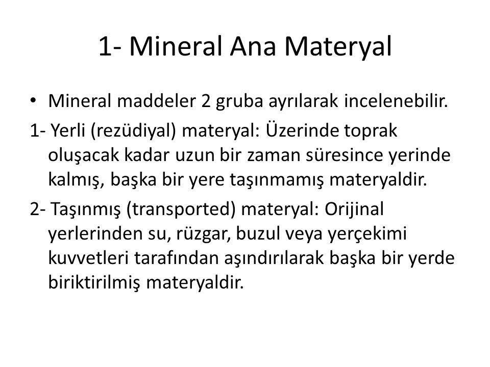 1- Mineral Ana Materyal Mineral maddeler 2 gruba ayrılarak incelenebilir.