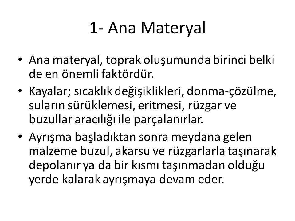 1- Ana Materyal Ana materyal, toprak oluşumunda birinci belki de en önemli faktördür.