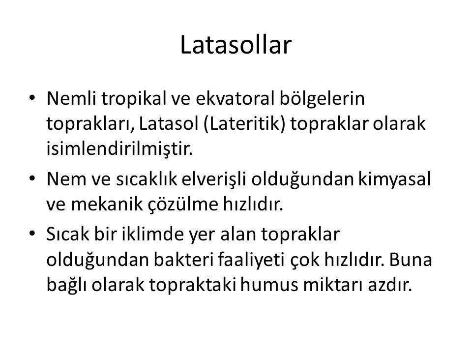 Latasollar Nemli tropikal ve ekvatoral bölgelerin toprakları, Latasol (Lateritik) topraklar olarak isimlendirilmiştir.
