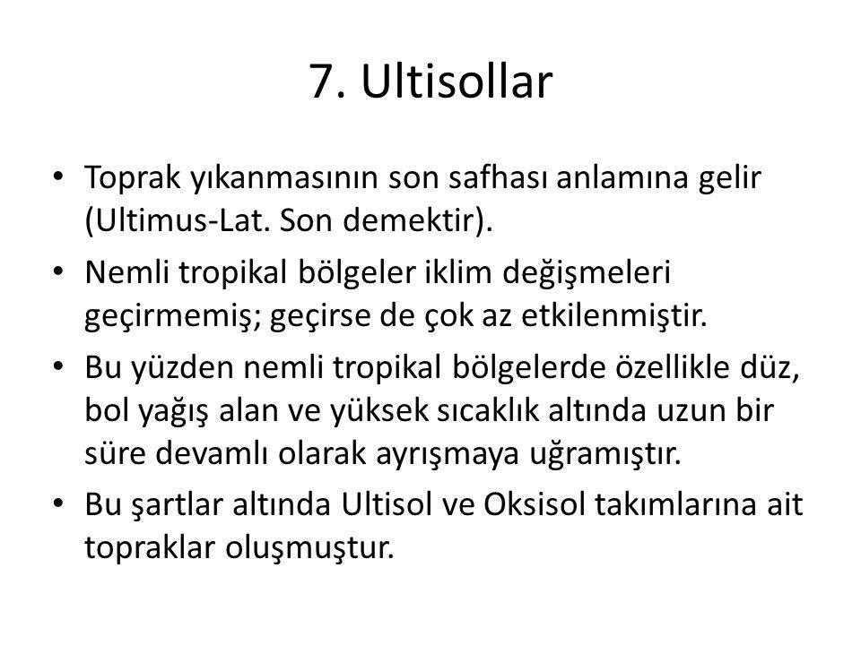 7. Ultisollar Toprak yıkanmasının son safhası anlamına gelir (Ultimus-Lat. Son demektir).
