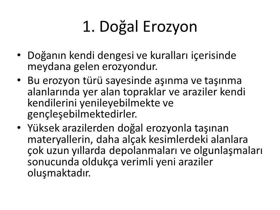 1. Doğal Erozyon Doğanın kendi dengesi ve kuralları içerisinde meydana gelen erozyondur.