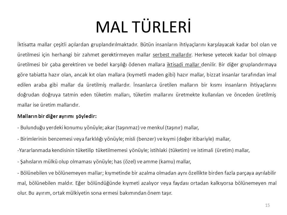 MAL TÜRLERİ