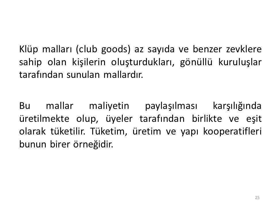 Klüp malları (club goods) az sayıda ve benzer zevklere sahip olan kişilerin oluşturdukları, gönüllü kuruluşlar tarafından sunulan mallardır.