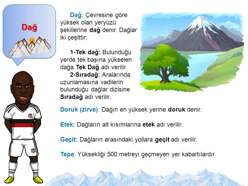 Dağ Dağ: Çevresine göre yüksek olan yeryüzü şekillerine dağ denir. Dağlar iki çeşittir: