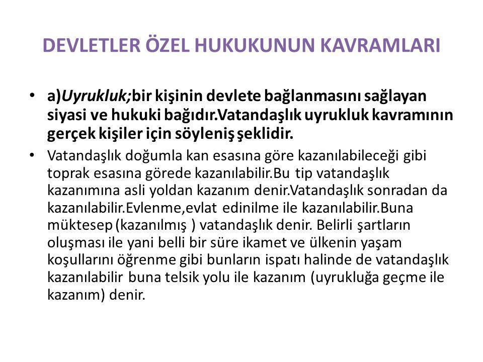 DEVLETLER ÖZEL HUKUKUNUN KAVRAMLARI