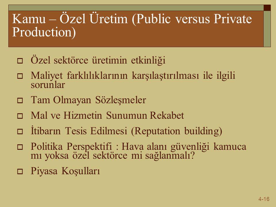 Kamu – Özel Üretim (Public versus Private Production)