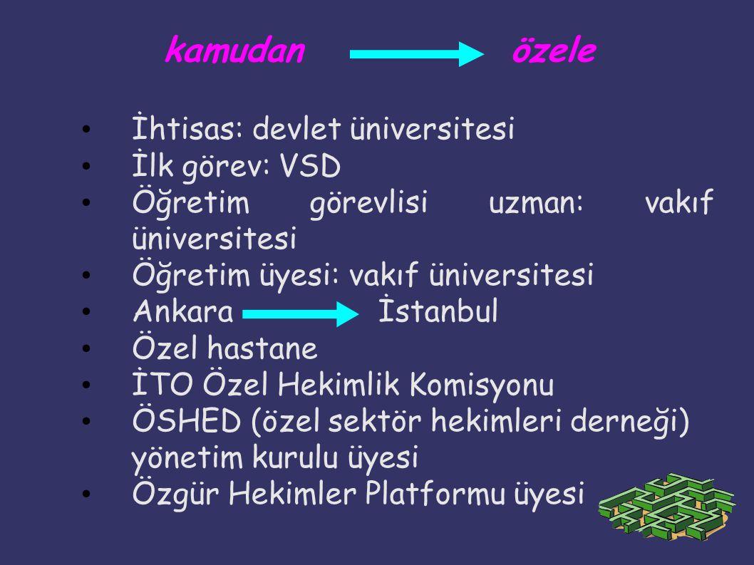 kamudan özele İhtisas: devlet üniversitesi İlk görev: VSD