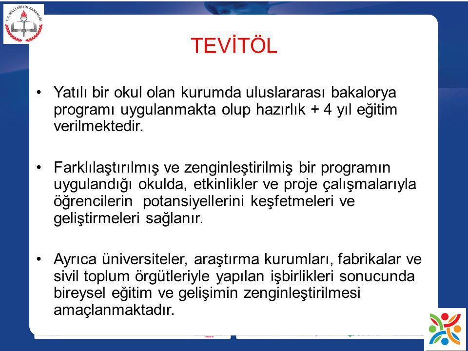 TEVİTÖL Yatılı bir okul olan kurumda uluslararası bakalorya programı uygulanmakta olup hazırlık + 4 yıl eğitim verilmektedir.
