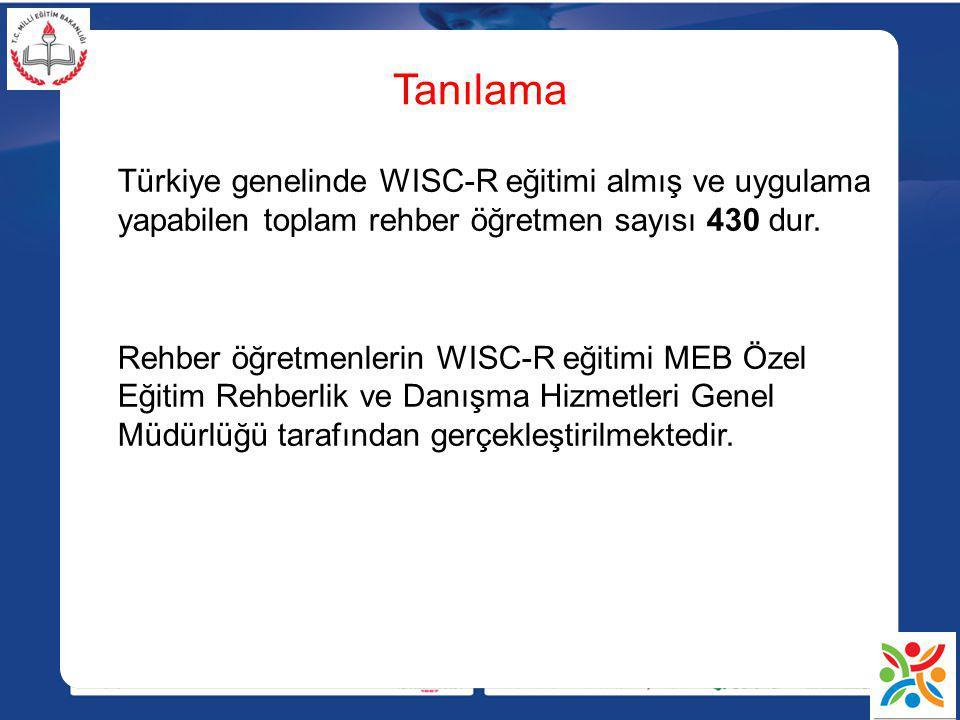 Tanılama Türkiye genelinde WISC-R eğitimi almış ve uygulama yapabilen toplam rehber öğretmen sayısı 430 dur.