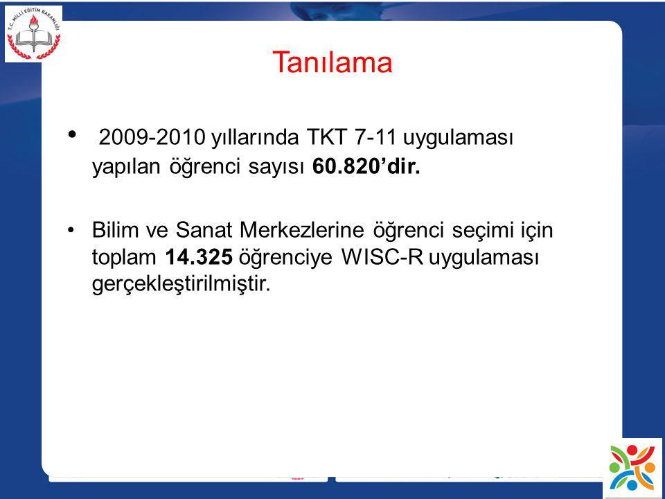 Tanılama 2009-2010 yıllarında TKT 7-11 uygulaması yapılan öğrenci sayısı 60.820'dir.