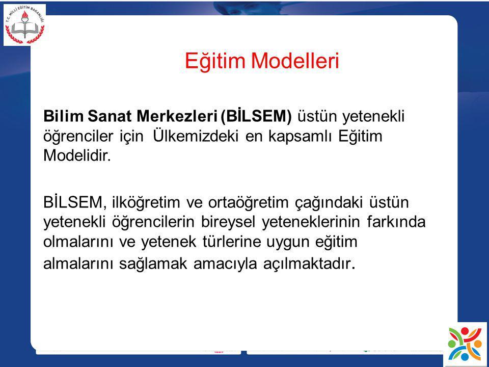 Eğitim Modelleri Bilim Sanat Merkezleri (BİLSEM) üstün yetenekli öğrenciler için Ülkemizdeki en kapsamlı Eğitim Modelidir.