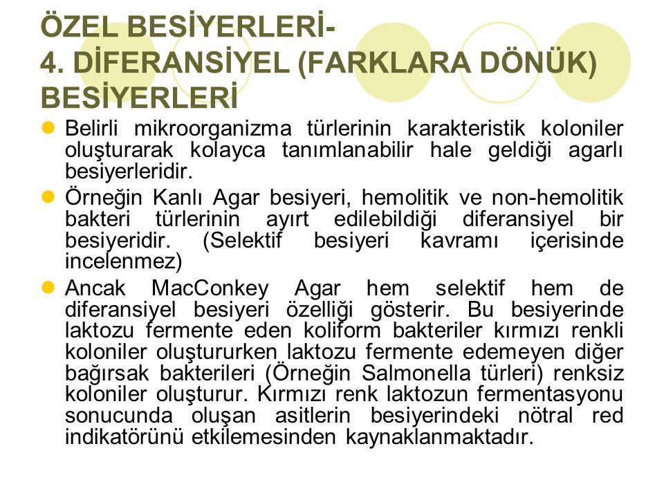 ÖZEL BESİYERLERİ- 4. DİFERANSİYEL (FARKLARA DÖNÜK) BESİYERLERİ