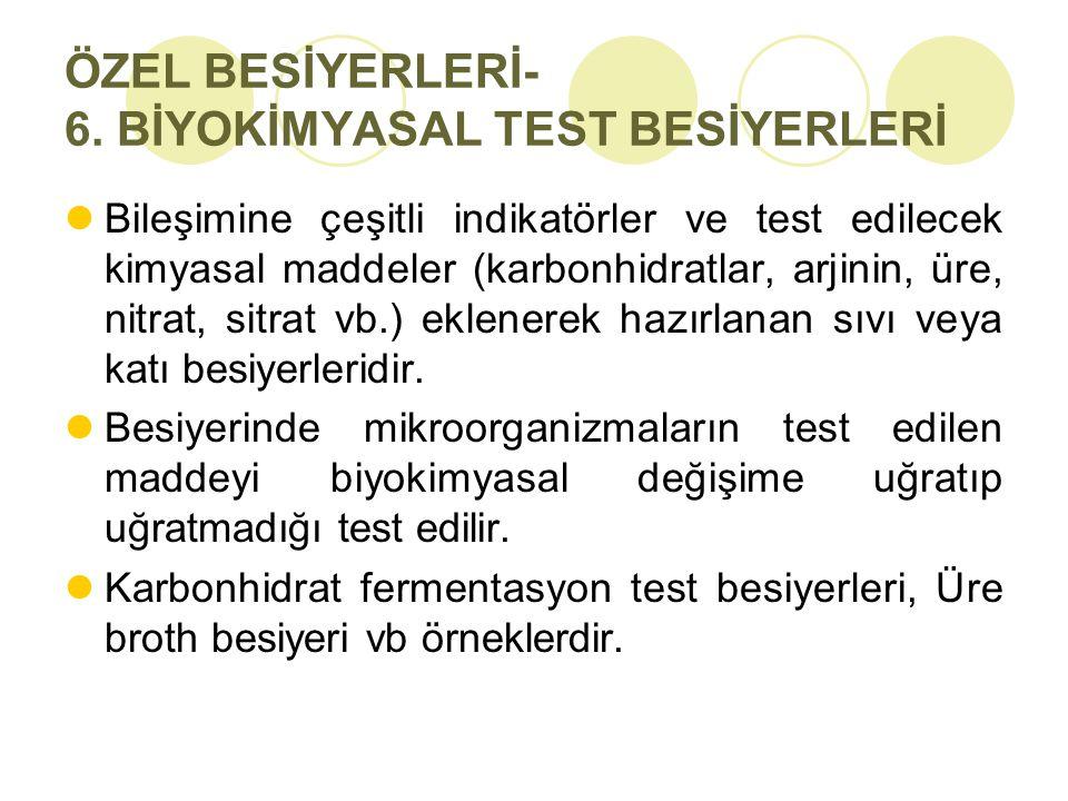 ÖZEL BESİYERLERİ- 6. BİYOKİMYASAL TEST BESİYERLERİ